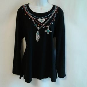 Coldwater Creek Southwestern Jeweled Top Size L